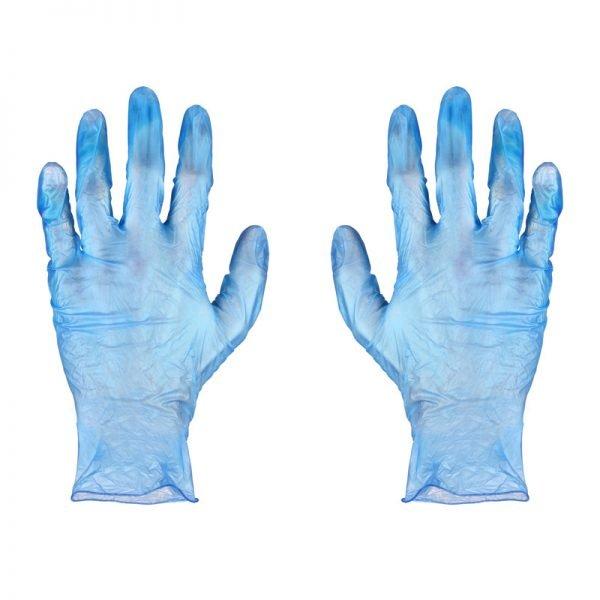 Blue Vinyl PF Gloves