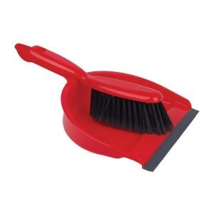 Red dust pan & brush set